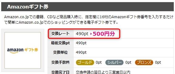 ハピタスポイント490ptをアマゾンギフト券500円分と交換