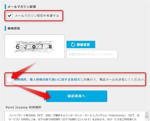 ポイントインカム登録情報入力後のメールマガジン希望・利用規約・個人情報の取り扱いに同意する画面
